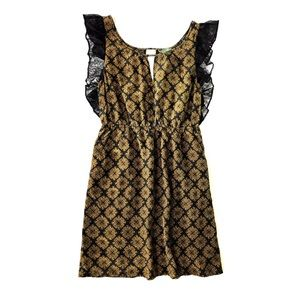 Maple Anthropologie dress medium gold black lace